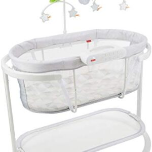 Fisher-Price Soothing Motions Bassinet with Smart Connect - Swaying Newborn and Infant Bassinet with Soothing Features Controlled by Smart Device