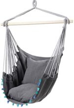 Hanging Rope Hammock Chair Swing Seat, Large Swing Chair with 2 Pillows, Load Capacity 350 lb, for Any Indoor or Outdoor Spaces, Included Wooden Stick