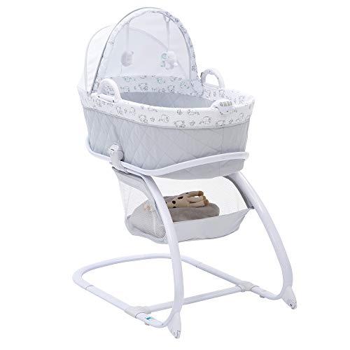 Delta Children Deluxe 2-in-1 Moses Bedside Bassinet Portable Crib, Elephant Dreams